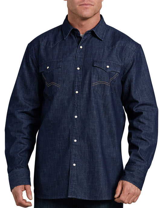 Dickies Mens Relaxed Fit Icon Long Sleeve Denim Western Shirt