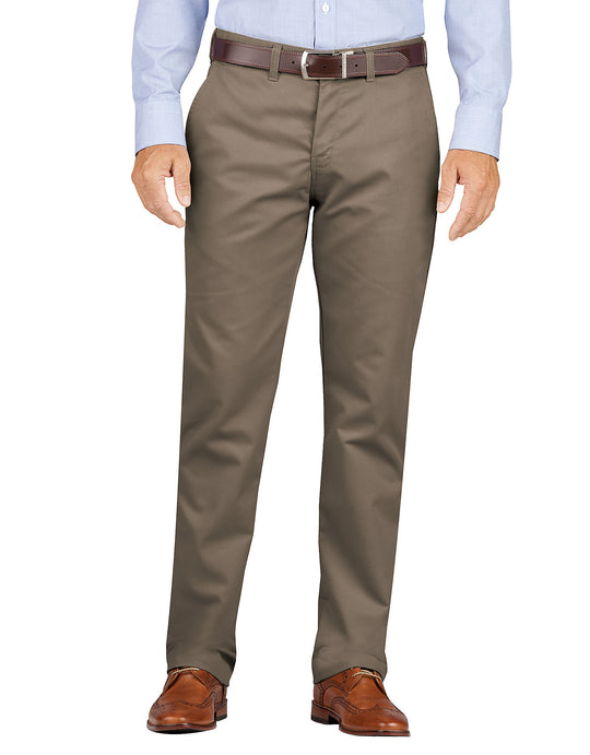 Dickies Mens KHAKI Slim Fit Tapered Leg Flat Front Pants