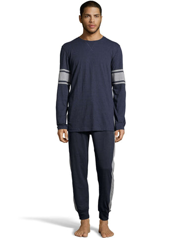 Hanes Mens 1901 Heritage Striped Sleeve Crewneck and Jogger Pant Lounge Set
