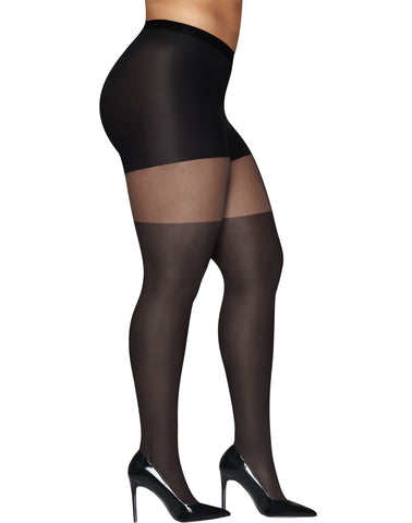 Hanes Womens Curves Illusion Thigh Highs