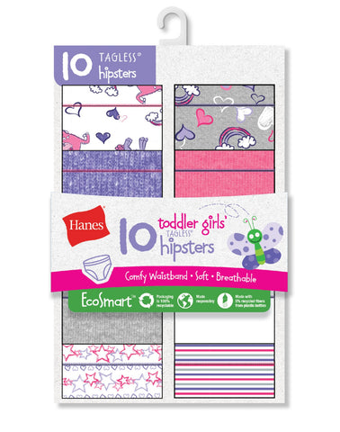 Hanes Toddler Girls EcoSmart Hipsters 10-Pack