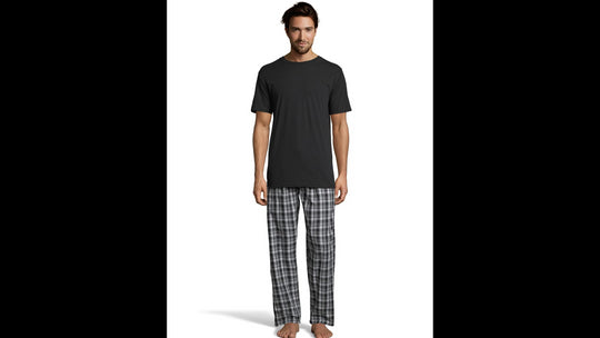 Hanes Mens Sleep Set with Woven Knit Pants