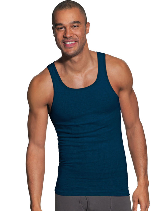 Hanes Mens FreshIQ ComfortSoft Dyed Assorted Tank Undershirt 5-Pack