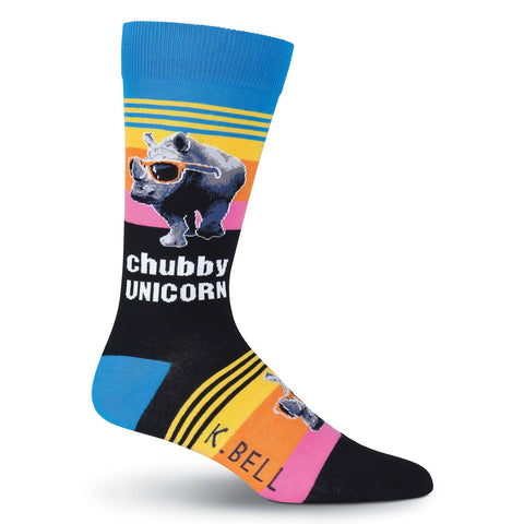 K. Bell Mens Rhino with Shades Crew Socks