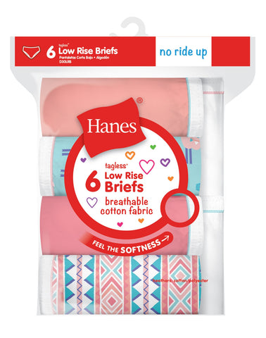 Hanes Girls Breathable Cotton Low Rise Briefs 6-Pack