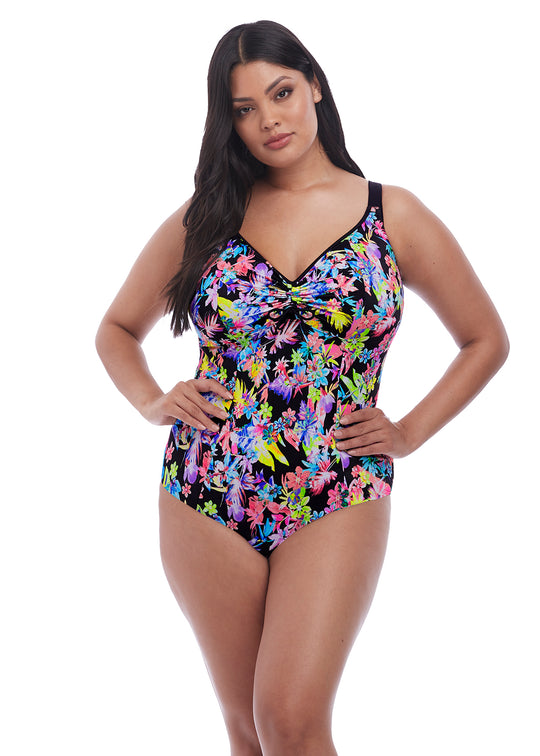 Elomi Womens Electroflower Moulded Swimsuit with Adjustable Neckline