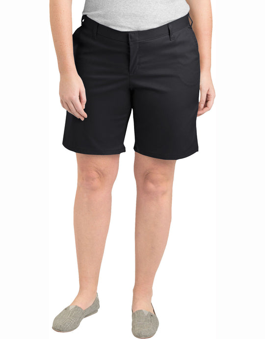 "Dickies Womens Plus Size 9"" Relaxed Fit Flat Front Shorts"