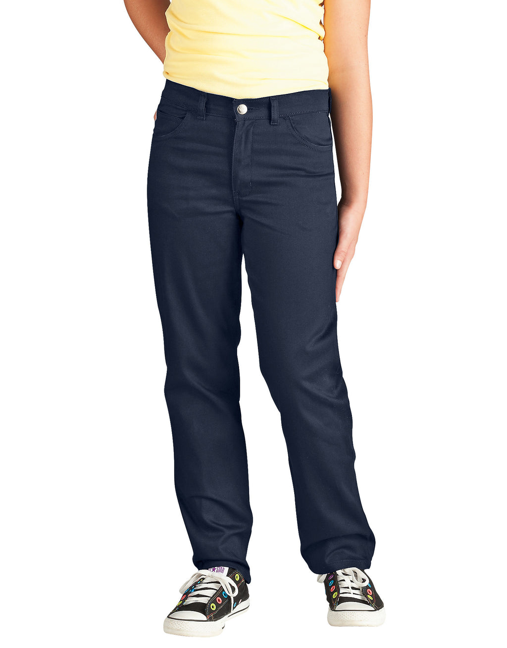 Dickies Girls Skinny Fit Straight Leg 5-Pocket Stretch Twill Pants, 4-6x