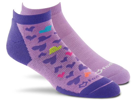 Fox River Scrubs Women`s Lightweight Ankle Socks, Medium, Lilac Hearts Asst.