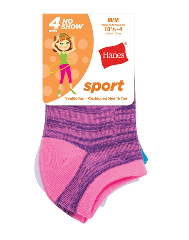 Hanes Girls Sport No Show Socks 4-Pack