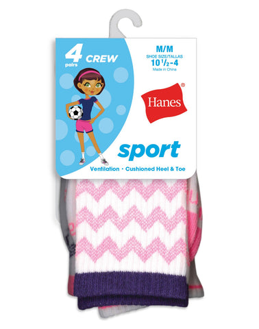 Hanes Girls Sport Crew Socks 4-Pack