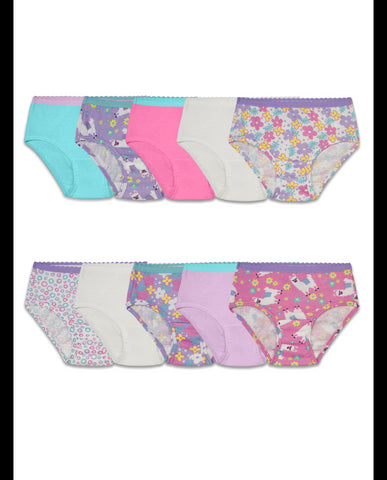 Fruit Of The Loom Toddler Girls 10 Pack Assorted Cotton Brief Underwear