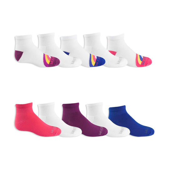 Fruit of the Loom Girls 10 Pair Everyday Soft Lightweight Ankle Socks