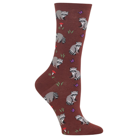 Hot Sox Womens Raccoon Crew Socks