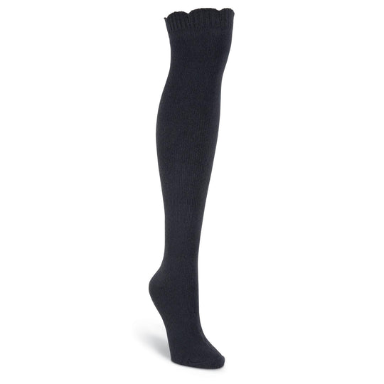 K. Bell Womens Soft n Dreamy Ribbed Scallop Top Over The Knee Socks