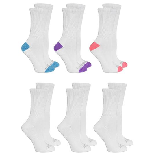 Fruit of the Loom Womens Ultra Soft Cushioned 6 Pair Crew Socks