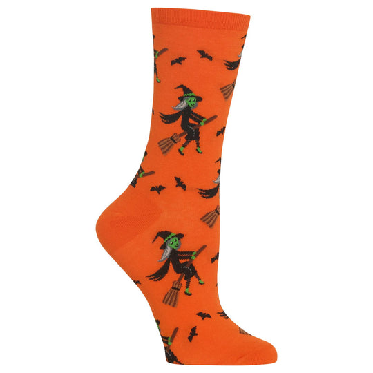 Hot Sox Womens Witch on a Broom Crew Socks