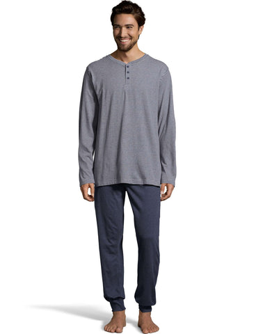 Hanes Mens 1901 Heritage Striped Henley Crewneck and Jogger Pant Lounge Set
