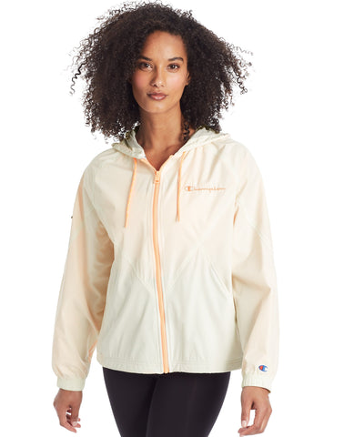 Champion Womens Lightweight Stadium Windbreaker, L, Chalk White