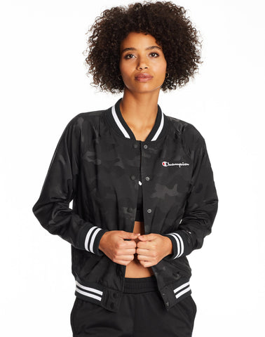 Champion Life Womens Bomber Camo Jacket, L, Black Camo