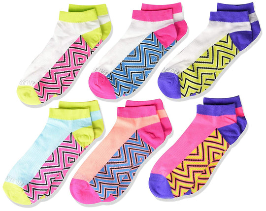 Fruit of the Loom Girls 6 Pair Everyday Active Lightweight Low Cut Socks with Arch Support