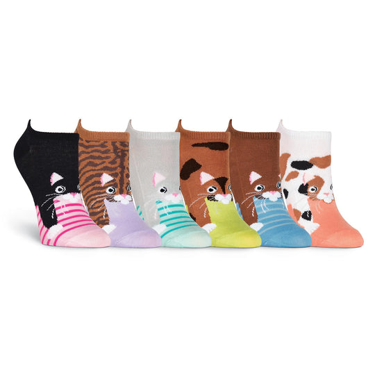 K. Bell Womens Cats 6 Pair Pack Ankle Socks