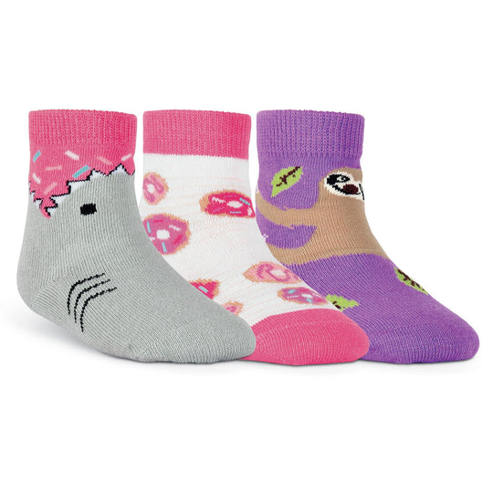 K. Bell Infants Shark Bite Sprinkles Three Pair Crew Socks