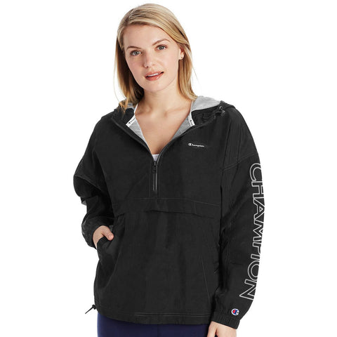 Champion Womens Lightweight Anorak Jacket, L, Athletic Navy