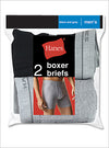 Hanes Men's Red Label Boxer Briefs Blk/Grey 2 Pack