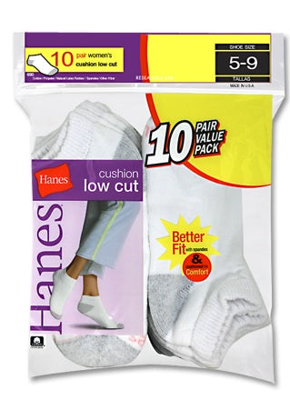 Hanes Cushioned Women's Low-Cut Athletic Socks 10-Pack
