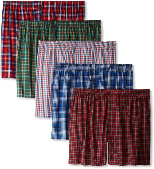 Hanes Classics Men's TAGLESS Tartan Boxers with Comfort Flex Waistband 5-Pack