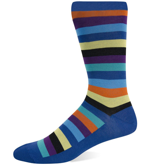 Hot Sox Mens Basics Collection Fun Stripe Crew Sock