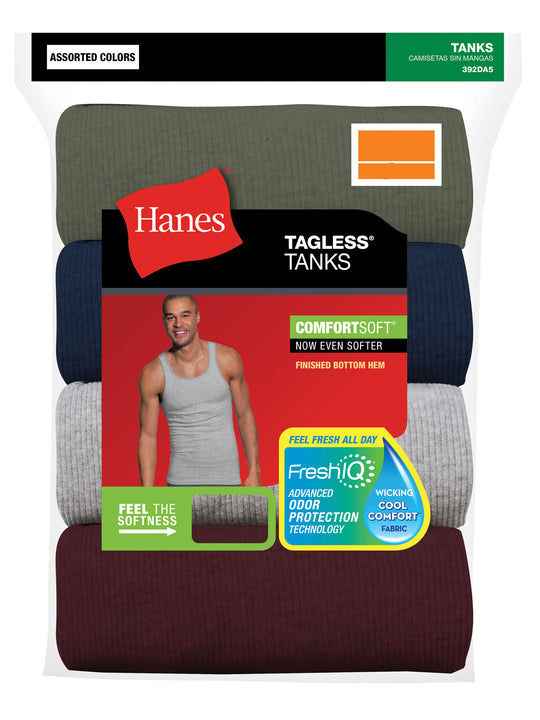 Hanes Mens FreshIQ ComfortSoft Dyed Assorted Tank Undershirt 2XL 4-Pack