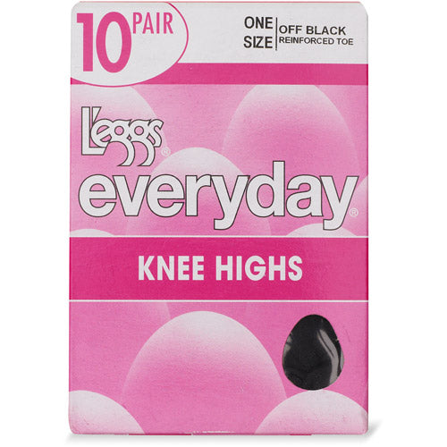 L'eggs Everyday Knee Highs Sandal Toe 10 Pair