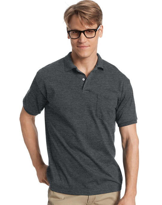 Hanes Cotton-Blend Jersey Men's Polo with Pocket