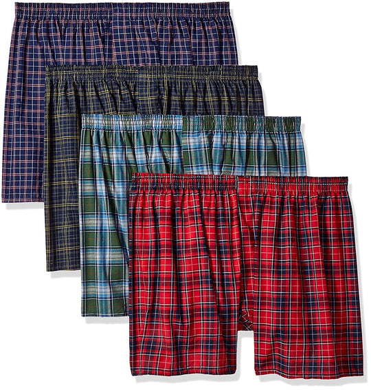 Fruit of the Loom Mens 4-Pack Woven Tartan and Plaid Boxers