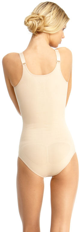 SlimMe By MeMoi womens Basic Control Braless Bodysuit w/Brief and Wide Adjustable Straps