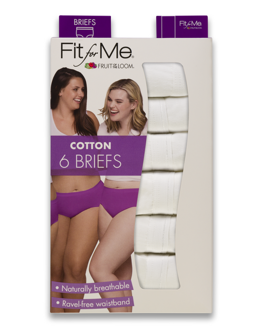 Fruit Of The Loom Womens Fit for Me White Briefs 6 Pack