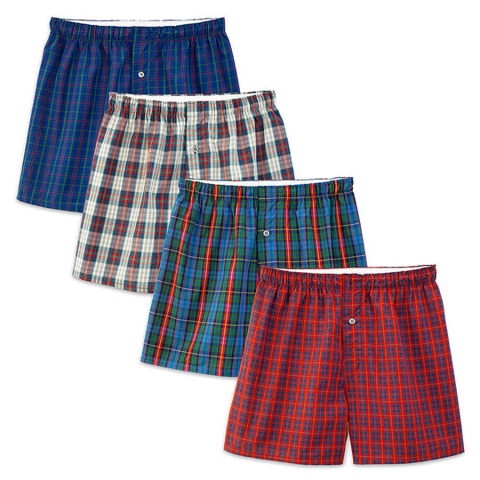 Fruit of the Loom Premium Men's 4 Pack Premium Cotton Woven Boxers