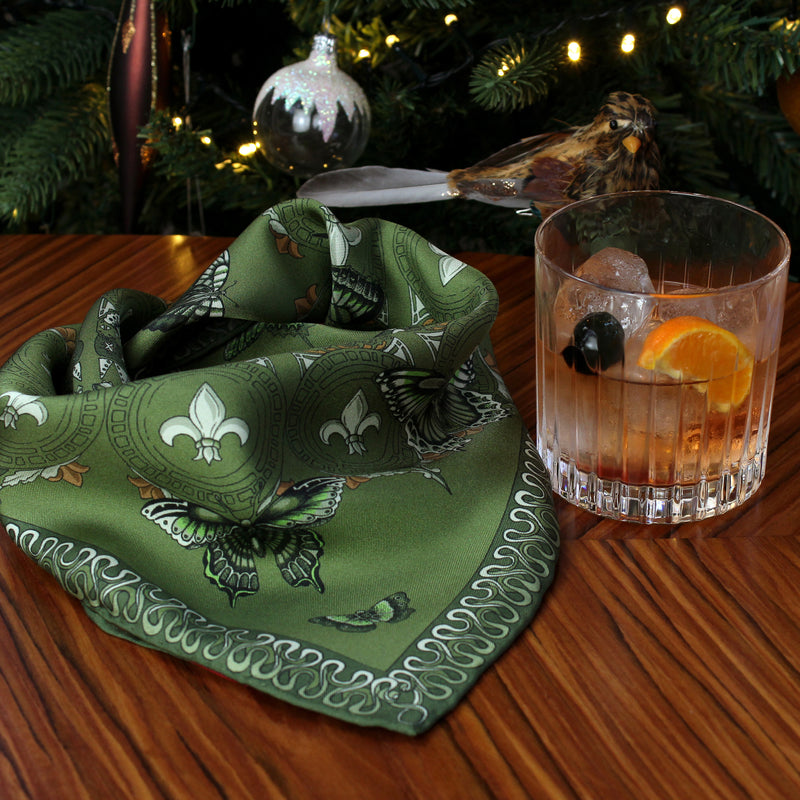 A Tequila Old Fashioned for the Queen Stag Beetle green pocket square