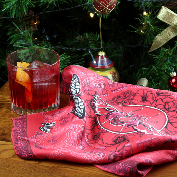Negroni for the Red Queen Stag Beetle pocket square