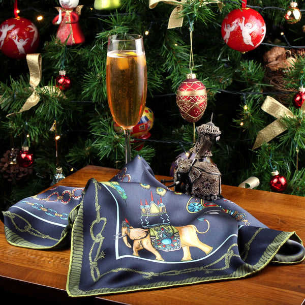 Champagne Cocktail for Barnes the Elephant Heirloom Pocket Square