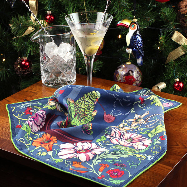Dry Martini for the Wise Old Parrot pocket square