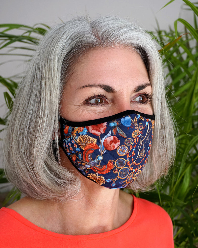 Blue Jewelled Face Mask
