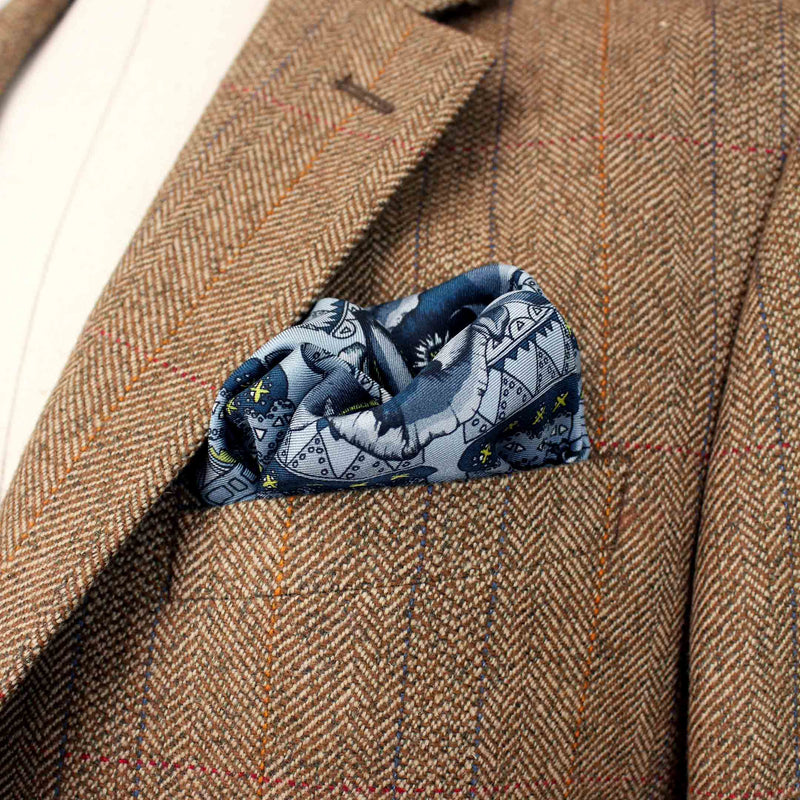Queen Stag Beetle Blue Pocket Square