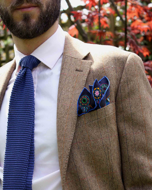 Planetarium Blue Pocket Square