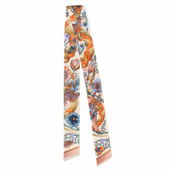 Tropical Iridescence Cream Skinny Twilly