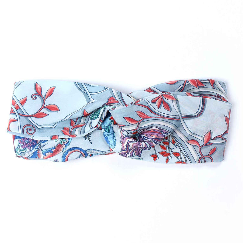 Japanese Cameo Grey Silk Headband