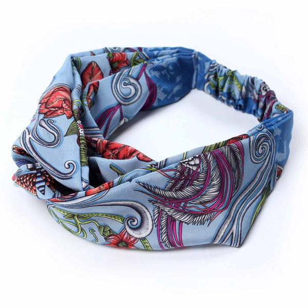 Delany Damask Blue Silk Headband
