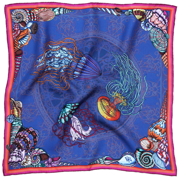 Dancing Jellyfish Blue Pocket Square
